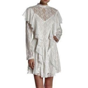 Free People Lace Ruffle Sheer Dress + Slip White S